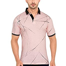 GLOBALRANG Global Rang Casual Pink Polo Neck Half Sleeve Printed Tshirt for Men (TSM-47)