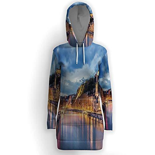 ISMYPRINT Women's Loose Casual Tunic Sweatshirts Dress,European -