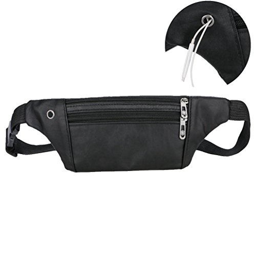 - Waist Packs, Unisex Outdoor Travel Sports Casual Fanny Pack Bag With a Hole for Headset (Black)