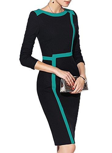 WOOSEA Women's 2/3 Sleeve Colorblock Slim Bodycon Wear to Work Pencil Dress (Black+Blue, (Colorblock Suit)