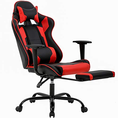 Gaming Chair Office Chair Ergonomic Desk Chair with Footrest Arms Lumbar Support Headrest Swivel Rolling High Back Racing Computer Chair for Women Men Adults Girls,Red
