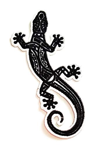Nipitshop Patches Black White Animal Lizard Gekko Salamander Cartoon Kids Patch Embroidered Iron On Patch for Clothes Backpacks T-Shirt Jeans Skirt Vests Scarf Hat Bag