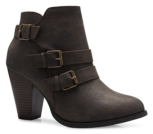 - OLIVIA K Women's Classic Stacked Wood Heel with Side Zipper Enclosure - Adjustable Ankle Straps with Buckle