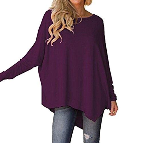 Franterd Women's Flowy Tank Tops Autumn Pure Color Batwing Sleeve Irregular Hem Loose Blouse for Jeans
