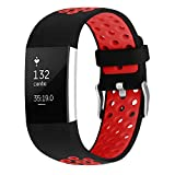 For Fitbit Charge 2 Bands, Soft Silicone Adjustable Replacement Sport Strap Bands for Fitbit Charge 2 Smartwatch Fitness Wristband Red Large