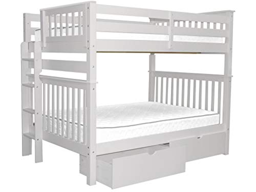 Bedz King Bunk Beds Full over Full Mission Style with End Ladder and 2 Under Bed Drawers, White
