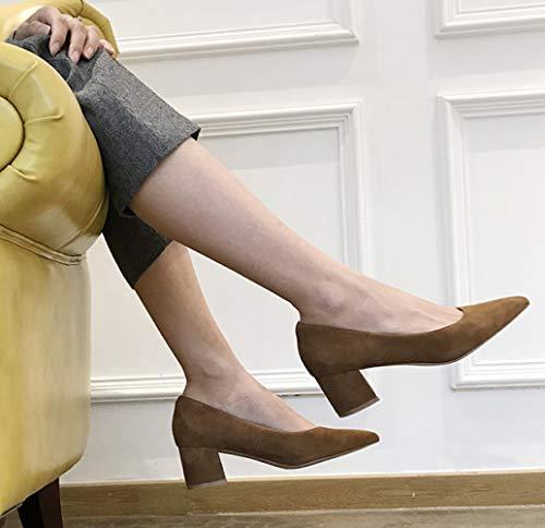Talons Femmes de Pointues 431 Unie Daim Blocage Brown avec Couleur Chaussures Orteils Court de Talons xFxXn