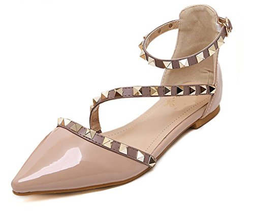 Maybest Women Patent Leather Rivets Flats Shoes Sexy Pointed Toe Pump Apricot (Sexy Apricot)