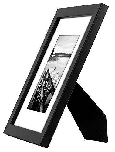 Americanflat 4 Piece Black Picture Frame Set | Displays 8x10 inch Photos. Shatter-Resistant Glass. Hanging Hardware Included! - Design: Black 8x10 inch picture frames; comes with a white beveled mats and hanging hardware for hassle-free display in both horizontal and vertical formats to hang flat against the wall; includes easel stands for tabletop or desktop display Material: Wood frames with polished shatterproof glass fronts that give clear views of your photos Quality: Durable, gallery-style frames; the frame fronts have clear shatterproof glass and sturdy backboards to keep the photos in place - picture-frames, bedroom-decor, bedroom - 41zqV2wddLL -