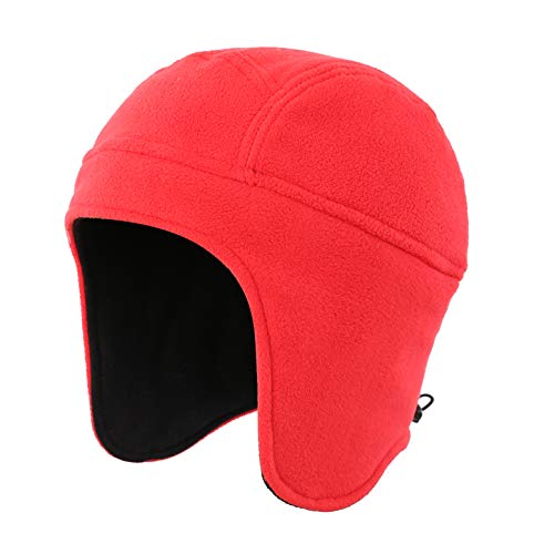 Home Prefer Daily Beanie Hat for Men Women Warm Winter Hats Thick Knit Earflap Beanie Cap Red