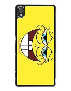 Sony Z3 Funda Case - SpongeBob Image of Cartoon Movie Nice Funny Elegant Design + Scratch Resistant Rugged Designer Style Quirky Cool Phone Funda Case & Cover For Sony Xperia Z3