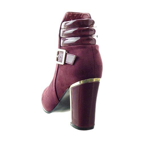 Sopily - Zapatillas de Moda Botines bimaterial Tobillo mujer metálico Hebilla Talón Tacón ancho alto 9 CM - Rojo