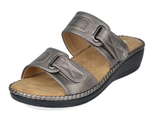DREAM PAIRS Women's Truesoft_01 Pewter Low Platform Wedges Slides Sandals Size 6.5 B(M) US