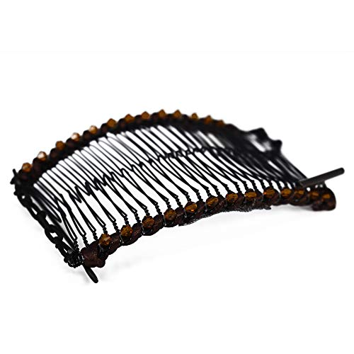 Banana Clip for Thick, Curly, Kinky Hair - Put Your Hair Up in Seconds with No Damage, Creases, or Pain - Make Comfy UpDo, Ponytail, French Twist, Bun, or Afro - Double Comb Accessory (Brown Medium)