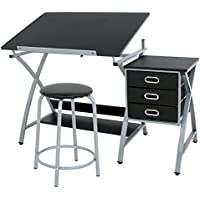 Super Deal Adjustable Drafting Table Drawing Desk Craft Station W/ 3 Drawers and Stool Chair (Black)
