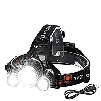 Victoper Wesho Rechargeable Headlight with 3 Lights 4 Modes, 6000 Lumen Super Bright LED Lamp, Hands-Free Flashlight… 5