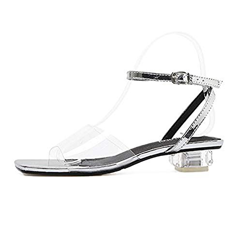 Women's Slippers Slip Chunky Dress Ankle Slide Strap Heel Silvery Middle Transparent Toe Crystal Buckle Sandals on JULY T Open 5xqT77