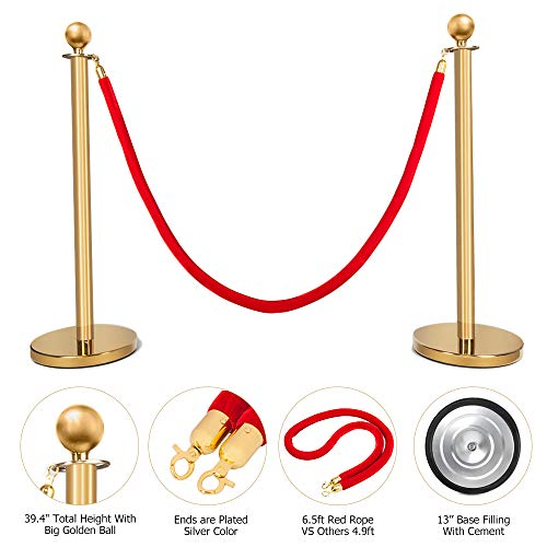 Mefeir 2PCS Heavy Duty Queue Pole Stanchion, Upgraded Crowd Control Barrier, Security Fence Stainless Steel Ball Top, Retractable Belt Posts/6.5 Feet Red Velvet Rope VIP (Gold)