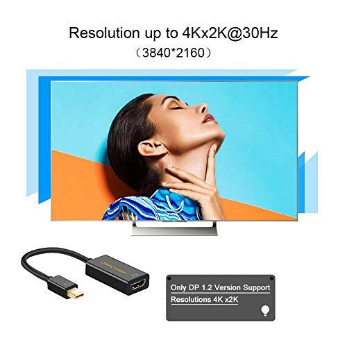 4K Mini DisplayPort to HDMI Adapter CableCreation Mini DP(Thunderbolt Port Compatible) to HDMI AV HDTV Male to Female Adaptor for Mac Book iMac, Black Color