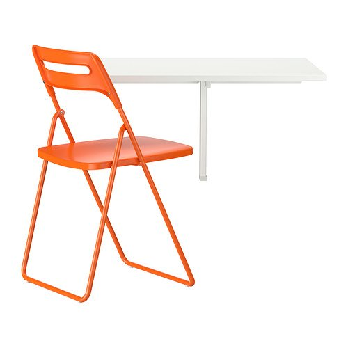 Ikea Table and 1 chair, white, orange 20202.5220.226