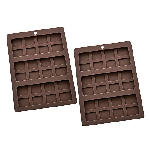 Candy Bar 2 - Mrs. Anderson's Baking Triple Chocolate Bar Mold, Non-Stick European-Grade Silicone, Makes 3 Standard-Sized Chocolate Bars (Candy Bar, Pack of 2)