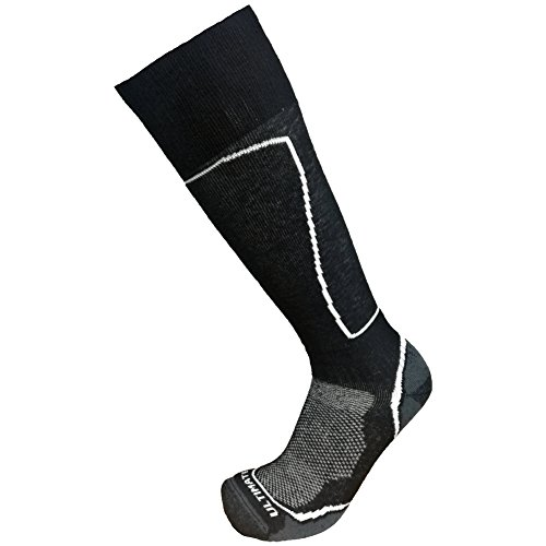 Ultimate Socks Mens Midweight Merino Wool Ski Snowboard Warm Socks Black Large 9-11.5
