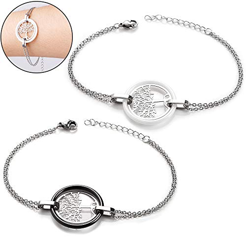 Adjustable Bracelet for Women Light Brace lace Link 316L Stainless Steel Ceramic Rim Tree of Life