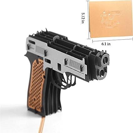 uniqueplus pistola pistola tema 3d Pop Up Tarjetas de regalo para ...