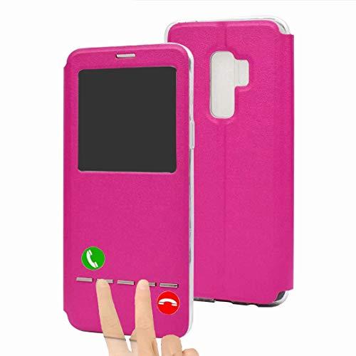 (Galaxy S9 Case, Ranyi Luxury Window View Wallet [Smart Sensors] [Free Flip Answer] [Kickstand Feature] Premium PU Leather Flip Folio Wallet Case for Samsung Galaxy S9 5.8 inch (2018), hot Pink)