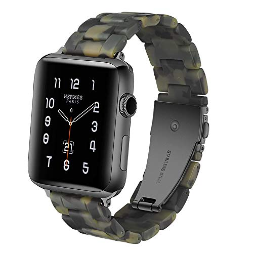 Resin Replacement Quick Release Design Bracelet For Apple Watch Band 38/42/40/44mm i Watch Series 4 3 2 1 Camo Green 44mm