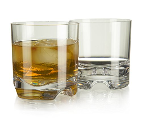 Ambassador Indoor/Outdoor Rocks Whiskey & Old Fashioned Glasses | Seamless, Unbreakable Tritan with Recessed, Ergonomic Shams | 8.5 ounce, Set of 4