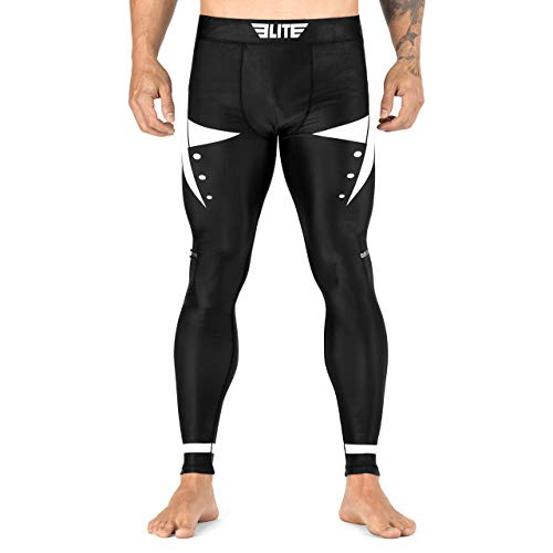 Elite Sports Fully Sublimated Graphics Advanced Grappling Spats Compression Pants Tights - MMA, BJJ, Kickboxing White
