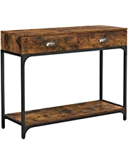 VASAGLE Industrial Console Table, Entryway Sofa Table with 2 Drawers and Shelf, Rustic Brown ULNT39X