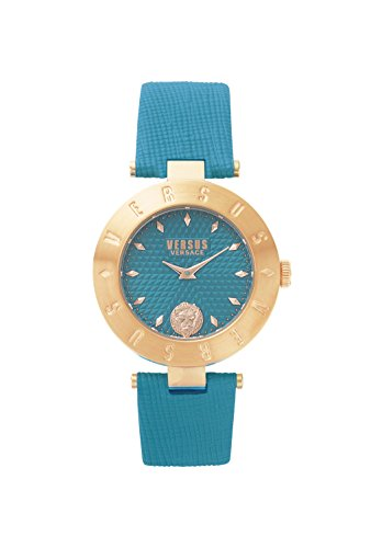 Versus by Versace Women's 'NEW LOGO' Quartz Stainless Steel and Leather Casual Watch, Color:Green (Model: - Versace New