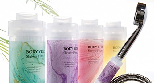 BodyVita Vitamin Shower Filter for Reduces Dry Itchy Skin, Dramatically Improves the Condition of Your Skin and Hair (Sparkling Lemon)