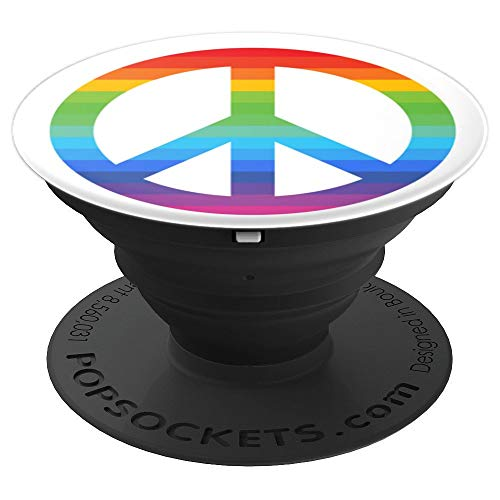 Rainbow Peace Sign Symbol love hippie anti war pop socket - PopSockets Grip and Stand for Phones and Tablets