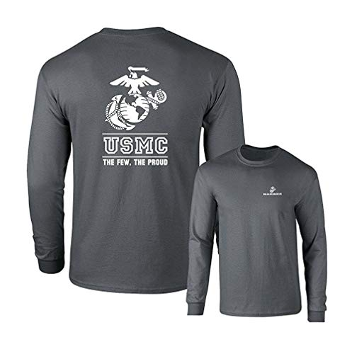 Lucky Ride Marines USMC The Few The Proud White Emblem F&B Long Sleeve T-Shirt, Charcoal-2X