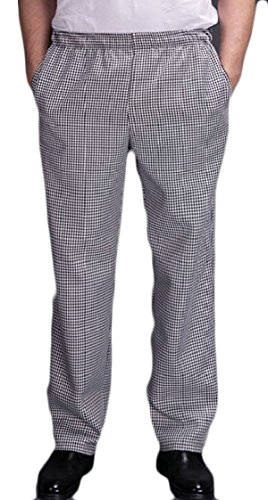 XQS Chef Uniforms Men's Black and White Checkered Elastic Waist Chef Pants S