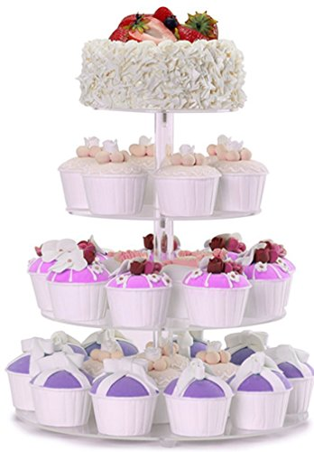 [4-Tier Cupcake Stand Round Tower Dessert Display Acrylic Plate Party Serving Tray Great Supplies for Holiday Entertaining (Bonus Stable Pillars, Screw Driver)] (4 Tier Baby Cake)