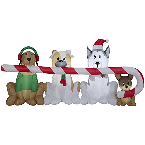 Gemmy Inflatables Puppies Sharing a Big Candy Cane Scene - Gemmy Airblown Inflatable