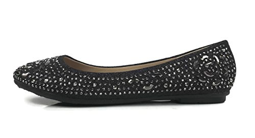 Forever Collection Womens Crystal Rhinestone Coverered Ballet Flats Slip On Glitter Shoes Black Marcasite 2vwiKJc8Pe