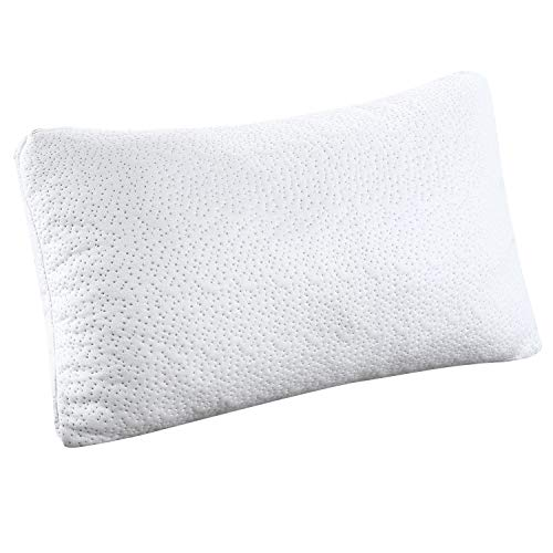 HuiYin Ultra-Luxury Bamboo Shredded Memory Foam Sleep Pillow Combination with Adjustable Viscoelastic Sleeping Pillow and Zipper Removable Breathable Cooling Hypoallergenic Pillow Cover, Queen