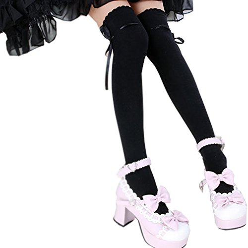 Women's Thigh High Socks Lolita Gothic Over Knee Stocking Lace Up Thigh Stockings PTK12 (Black) ()