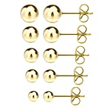 Jewelrieshop Surgical Stainless Steel Round Ball Stud Earrings, 5 Pairs Assorted Sizes Hypoallergenic Pin