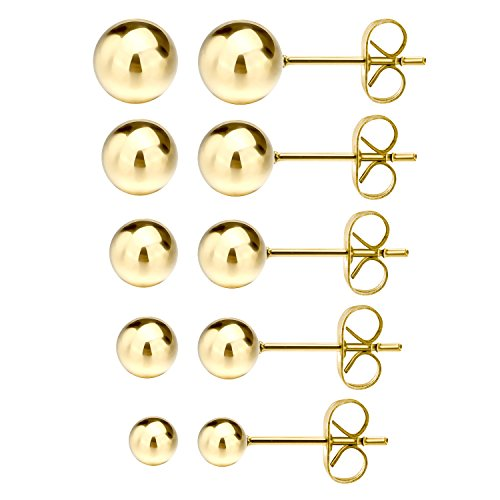Gold Tone Yellow Earrings (Jewelrieshop Stainless Steel Round Ball Stud Earrings, 5 Pairs Assorted Sizes)