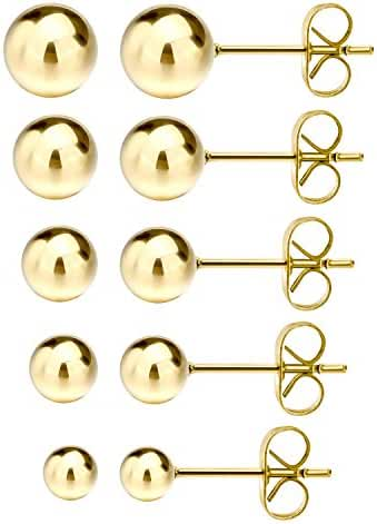 Jewelrieshop Stainless Steel Round Ball Stud Earrings, 5 Pairs Assorted Sizes