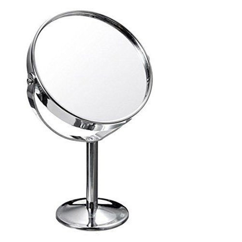 HOROW Small Round 3 inch Two-sided 360 Degree Swivel Vanity Makeup Mirror 3X Magnifying Mirror Desktop Polished Chrome Plated (pack of 1) (Vanity Stand Mirror Round)