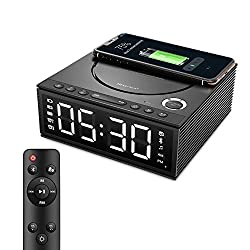 Htterino Wireless Charging Alarm Clock Bluetooth Speaker with Remote Control,FM Radio,USB Port,TF-Card,AUX-in,Snooze,LED Display,Hands-Free Calls and DIY Ringtone for Bedroom(Color:Black)