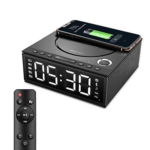 Htterino Wireless Charging Alarm Clock Bluetooth Speaker