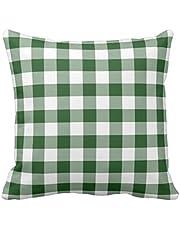 TORASS رمي غطاء وسادة منقوشة خضراء وبيضاء قماش الجينغهام الكلاسيكية ديكور المنزل ساحة 45.72 × 45.72 سم كيس وسادة